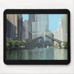 Chicago River Columbus Drive Boat Scene Mouse Pads