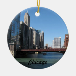 Chicago River Double-Sided Ceramic Round Christmas Ornament