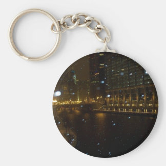 Chicago River walk along Michigan Ave. Basic Round Button Key Ring