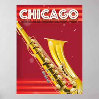Chicago Saxophone travel poster print