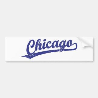 Chicago script logo in blue bumper sticker
