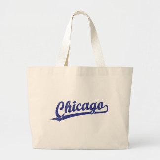 Chicago script logo in blue large tote bag