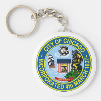 Chicago Seal Basic Round Button Key Ring