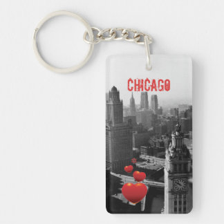 Chicago Skyline1930's from Above view Photograph Key Ring