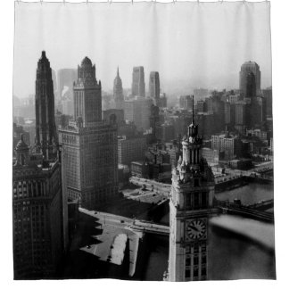 Chicago Skyline1930's from Above view Photograph Shower Curtain