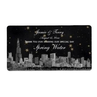 Chicago Skyline #2 Black Gold Star H Water Bottle