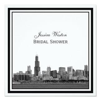 Chicago Skyline #2 Etched Framed Bridal Shower 13 Cm X 13 Cm Square Invitation Card