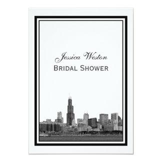 Chicago Skyline #2 Etched Framed V Bridal Shower 13 Cm X 18 Cm Invitation Card