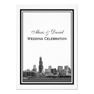 Chicago Skyline #2 Etched Framed V Wedding