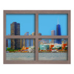 Chicago Skyline 4 Panel Wood Window Poster