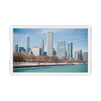 Chicago skyline across frozen Lake Michigan Acrylic Tray