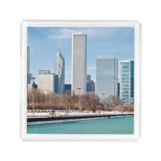 Chicago skyline across frozen Lake Michigan Acrylic Tray