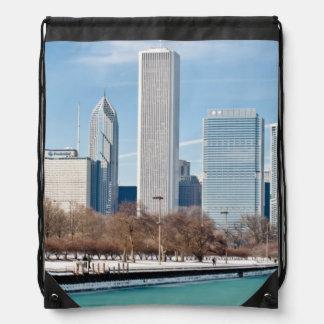 Chicago skyline across frozen Lake Michigan Drawstring Bag