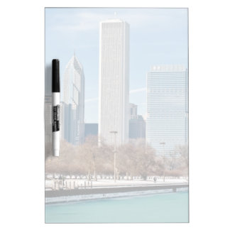 Chicago skyline across frozen Lake Michigan Dry Erase Board