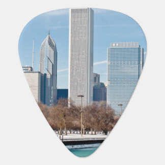 Chicago skyline across frozen Lake Michigan Guitar Pick