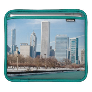 Chicago skyline across frozen Lake Michigan iPad Sleeve