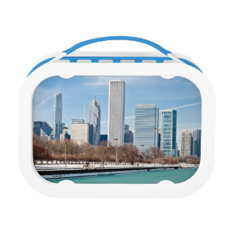 Chicago skyline across frozen Lake Michigan Lunch Box