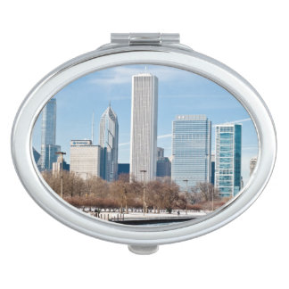 Chicago skyline across frozen Lake Michigan Mirror For Makeup