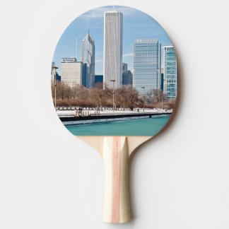 Chicago skyline across frozen Lake Michigan Ping Pong Paddle