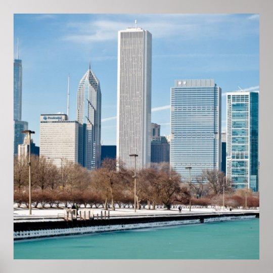Chicago skyline across frozen Lake Michigan Poster