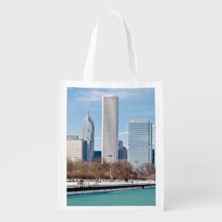 Chicago skyline across frozen Lake Michigan Reusable Grocery Bag
