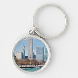 Chicago skyline across frozen Lake Michigan Silver-Colored Round Key Ring