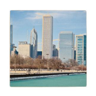 Chicago skyline across frozen Lake Michigan Wood Coaster