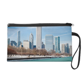 Chicago skyline across frozen Lake Michigan Wristlet