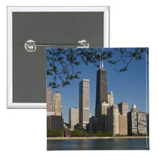 Chicago skyline and Lake Michigan, Lake Shore 15 Cm Square Badge