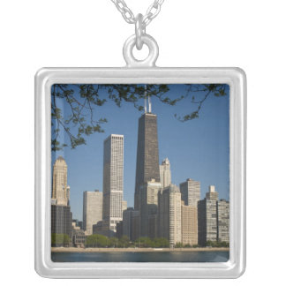 Chicago skyline and Lake Michigan, Lake Shore Silver Plated Necklace