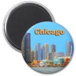 Chicago Skyline At Navy Pier 6 Cm Round Magnet