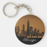 Chicago Skyline at night at John Hancock Centre Basic Round Button Key Ring