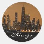 Chicago Skyline at night at John Hancock Centre Round Stickers
