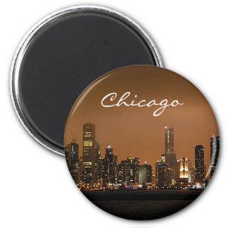 Chicago Skyline at night at Navy Pier 6 Cm Round Magnet