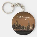 Chicago Skyline at night at Navy Pier Basic Round Button Key Ring