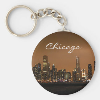 Chicago Skyline at night at Navy Pier Key Ring