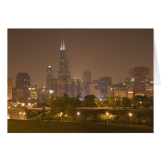Chicago skyline at night card