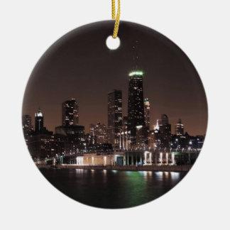 Chicago Skyline at Night Christmas Ornament