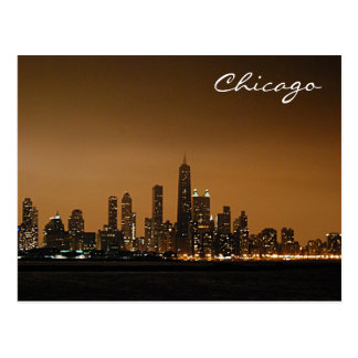 Chicago Skyline at Night Postcards