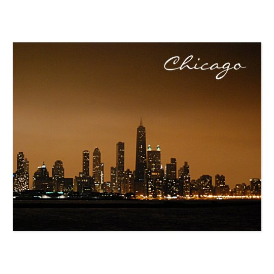 Chicago Skyline at Night Postcard