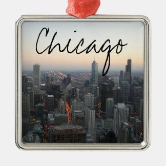 Chicago Skyline at Sunset Christmas Ornament