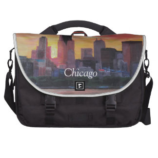 Chicago Skyline at Sunset Laptop Messenger Bag