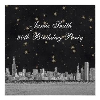 Chicago Skyline Black Gold Star Birthday Party 13 Cm X 13 Cm Square Invitation Card