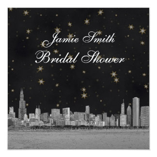 Chicago Skyline Black Gold Star Bridal Shower 13 Cm X 13 Cm Square Invitation Card