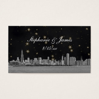 Chicago Skyline Black Gold Star Place Cards