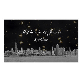 Chicago Skyline Black Gold Star Place Cards Business Card