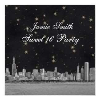 Chicago Skyline Black Gold Star Sweet 16 13 Cm X 13 Cm Square Invitation Card