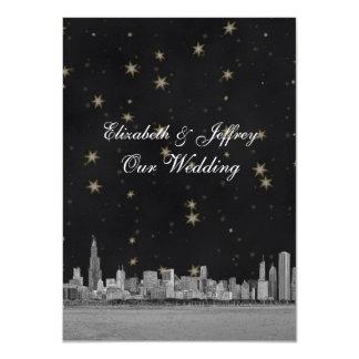 Chicago Skyline Black Gold Star V Wedding 11 Cm X 16 Cm Invitation Card