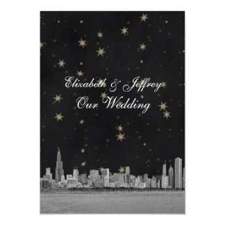 Chicago Skyline Black Gold Star V Wedding 13 Cm X 18 Cm Invitation Card