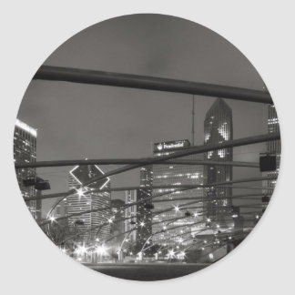 Chicago Skyline Black & White Round Sticker